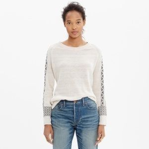 Madewell Embroidered Geometry Cream Top small